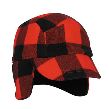 Red and Black Plaid Hunting Cap with Earflaps