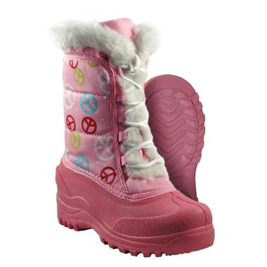 Girls Youth Pink Peace Winter Boots