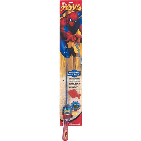 shakespeare kids spiderman lighted fishing rod kit