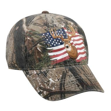 Realtree Xtra Deer and American Flag on Front Cap