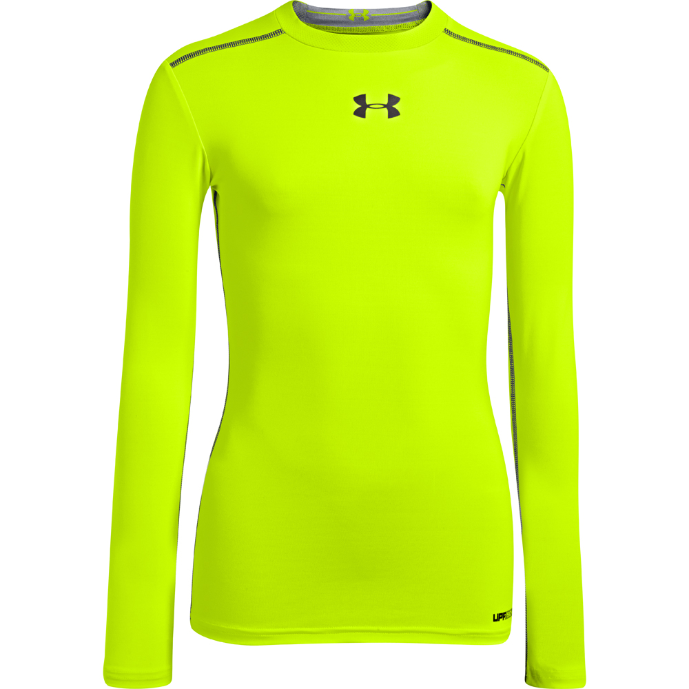 Under armour youth boy 39 s heatgear sonic fitted long sleeve for Yellow under armour long sleeve shirt