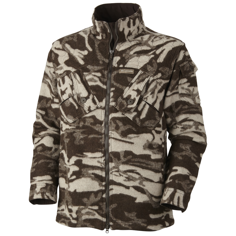 DETAILS This wool blend jacket from Columbia has deep cargo pockets, warm hand pockets and a twill-lined hood. The wool/poly blends offers superior warmth while allowing moisture management, and the smooth, nice camouflage gives a hunter great invisibility/cover.
