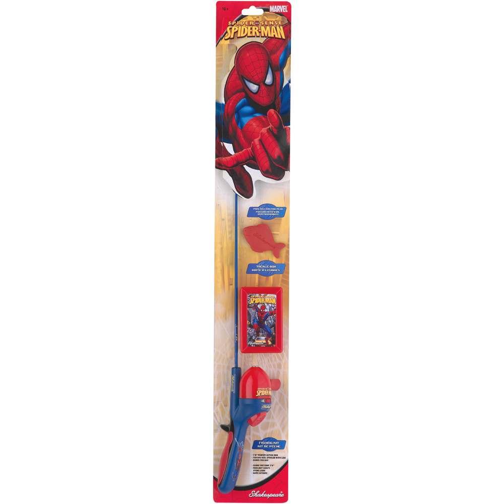 Shakespeare kids spiderman fishing rod tackle box kit for Kids fishing gear