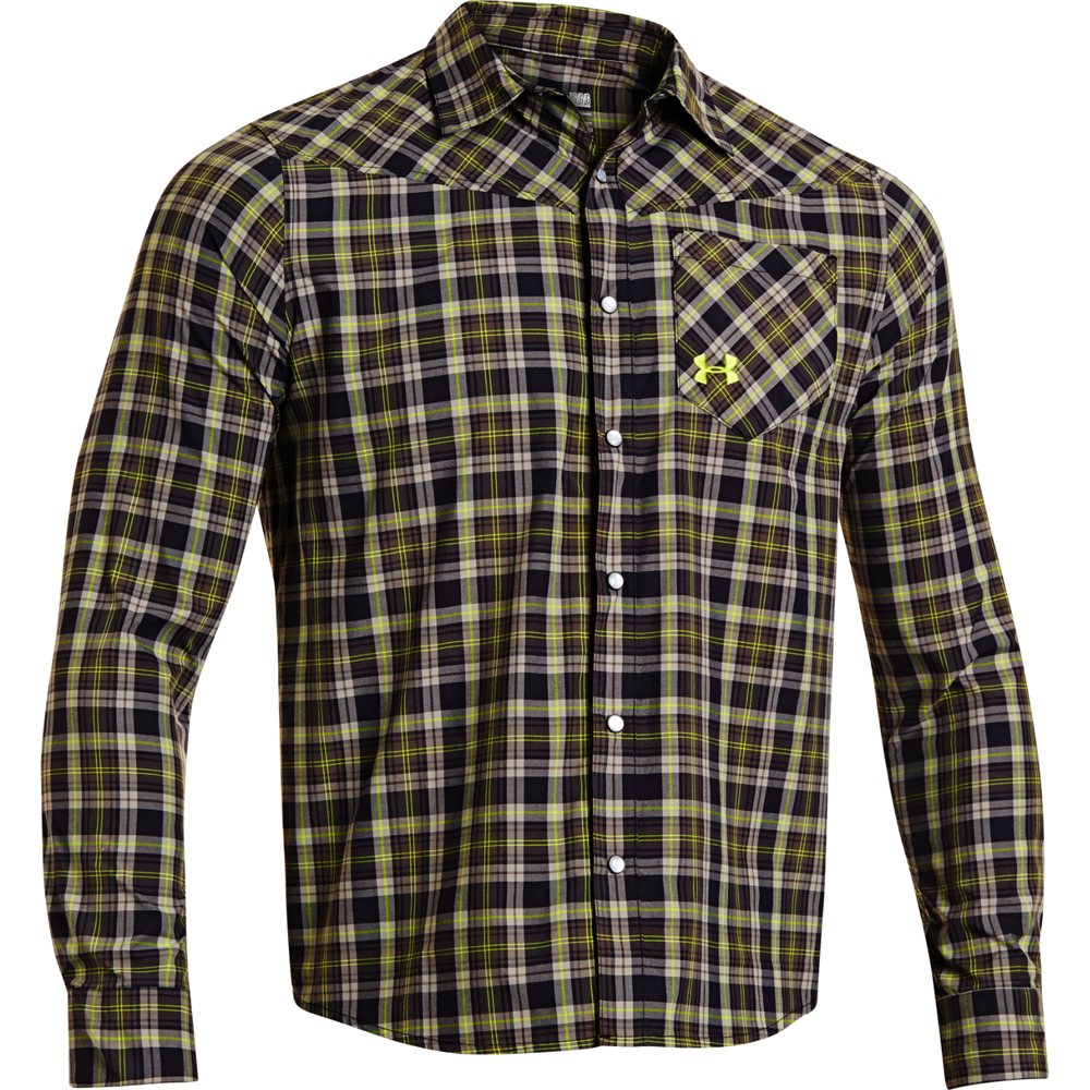 Under armour men s ua wilkie long sleeve plaid shirt for Plaid shirt under sweater